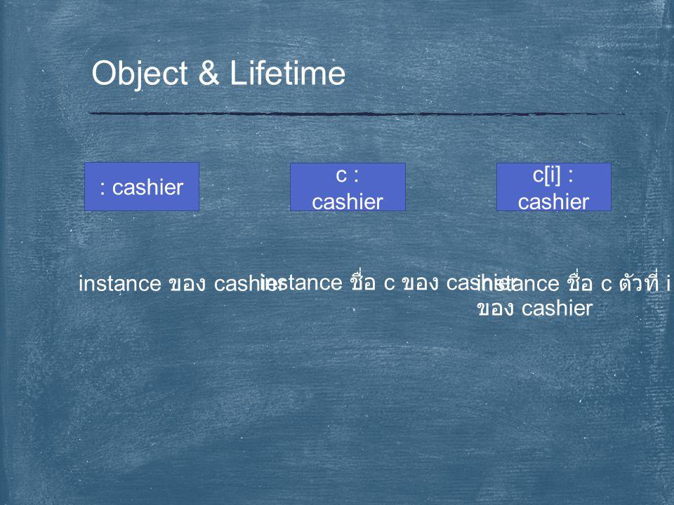 Object & Lifetime : cashier c : cashier c[i] : cashier